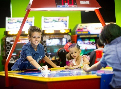Kids Having fun with Air Hockey