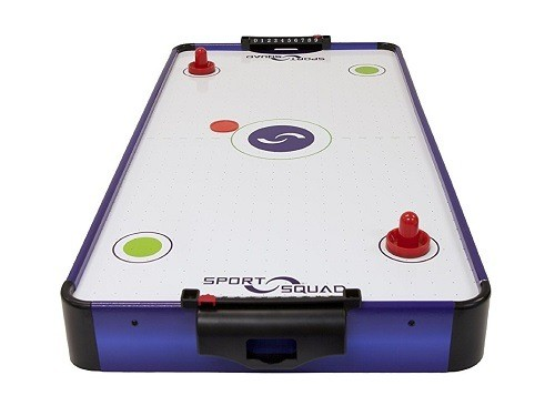 Everything you need to know about air hockey airhockeyplace sport squad hx40 electric powered air hockey table front greentooth