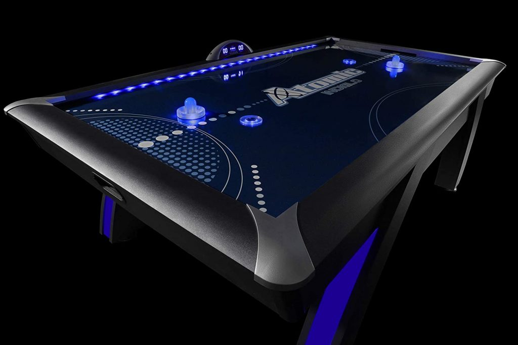 Atomic 90 7.5 ft LED Light UP Arcade Air Powered Hockey Table Specs
